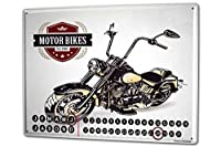 カレンダー Perpetual Calendar Garage Chopper motorcycle Tin Metal Magnetic