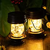 pearlstar Solar Lanterns Outdoor Hanging Lights Waterproof Decorative Solar Table Lamp Landscape Light Yard Garden Patio Warm White with Fairy LED Lights for Indoor Tabletop Desk Pack of 2