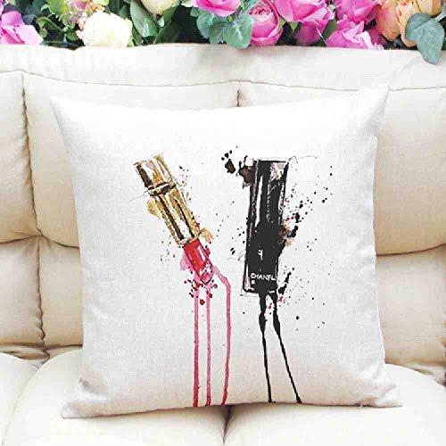 LZBDKM Kussensloop 45x45 cm Homme Cosy kussensloop in huis decoratieve mode moderne lippenstift parfum fles katoen linnen beddengoed kussensloop groothandel
