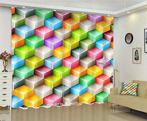 rideaux 3D Multicolore Carré Impression en Polyester Espace visuel Épaissé Draper Coupure électrique Propre Protection Fenêtre Tentures Chambre Salon Décoration, Wide 2.64x High 1.6