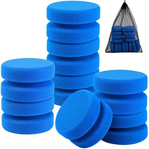 Aodaer 8 Pack Paint Sponge Applicator Detail Sponge Paint Round Wax Applicator Tire Shine Applicator Sealant Foam Applicators for Art Crafts, Car, Kitchen with Mesh Hanging Storage Bag (Blue)