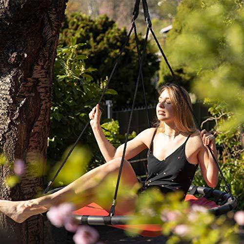Relaxdays, rot Nestschaukel, runde Hängeschaukel, für Kinder & Erwachsene, verstellbar, draußen, Ø: 120 cm, bis 100 kg