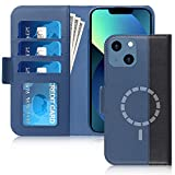 """FYY Designed for iPhone 13 5G Case, [Support Magsafe Charging][Genuine Leather] Wallet Phone Case with Card Holder Protective Shockproof Cover for iPhone 13 5G 6.1"""" Navy&Black"""