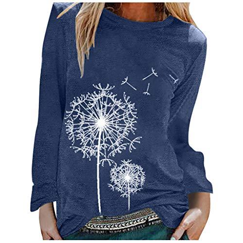 Frauen Tops Casual Löwenzahn Print Pullover O-Ausschnitt Langarm Sweatshirt Mode Einfarbig T-Shirt Tunika Bluse(XL,Marine)