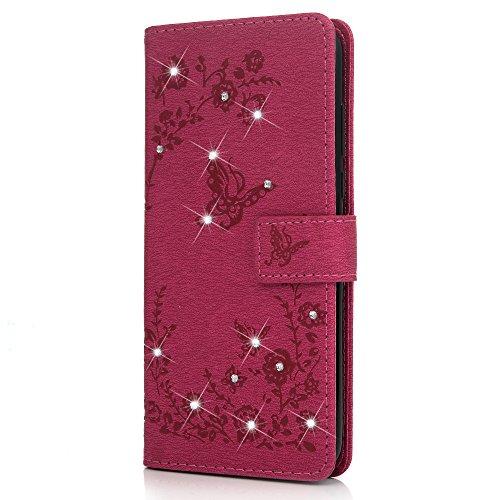 Huawei Y7 2018 Handyhülle Honor 7C Hülle Glitzer Starss Schmetterling Muster Leder Tasche Flip Case Cover Schutzhülle Silikon Handtasche Skin Ständer Klapphülle Schale Bumper Magnetverschluss-Roserot - 5