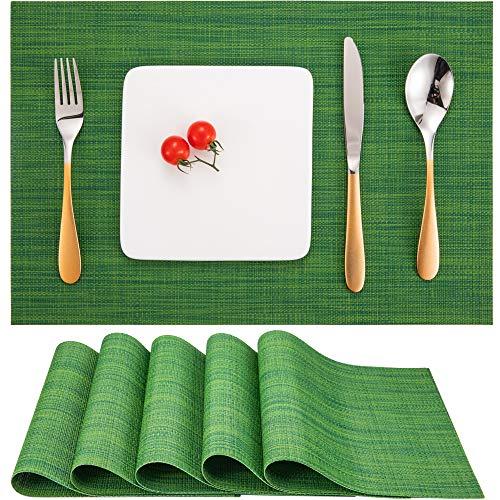 Myir Tovagliette Americana Plastica Lavabili, Set di 6 Tovagliette Non-scivolose Resistenti al Calore, Tovaglietta Americane per Tavolo da Cucina (Verde 2)
