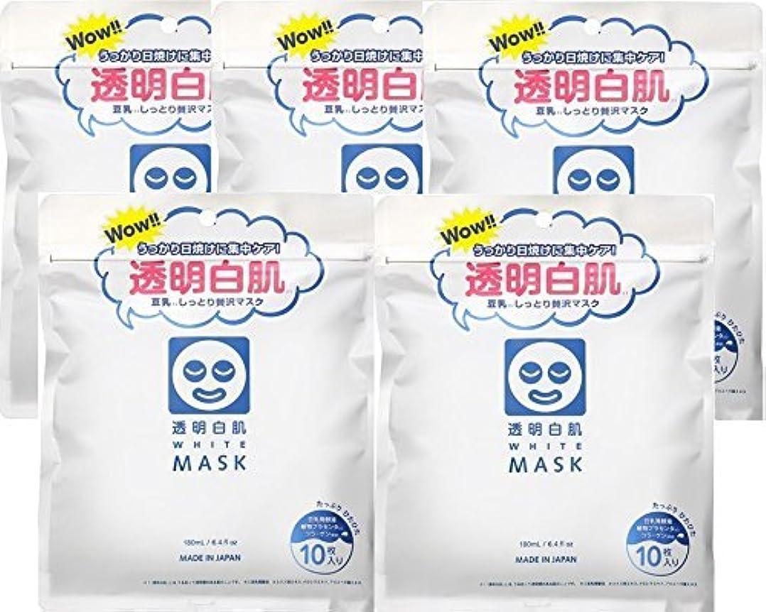 可決予防接種水曜日透明白肌 ホワイトマスクN×5個セット