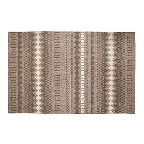 BELLA MAISON - Alfombra Souq Kilim de 120 x 180 cm, 1058 g/m2, tejido liso de mezcla de algodón, antideslizante, con borlas, color beige, fabricada en Turquía.