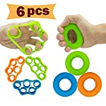 Hand Grip Strengthener, Finger Exerciser, Grip Strength Trainer (6 PCS)*New Material*Forearm Grip Workout, Finger Stretcher, Relieve Wrist Pain, Carpal Tunnel, Trigger Finger, Mallet Finger and More.