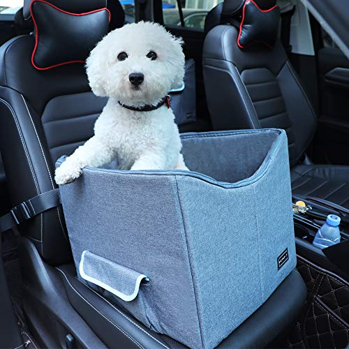 Petsfit Dog Lookout Car Booster Seat with Summer and Winter Liner for Small Dog, 15' Lx16 Wx14 H
