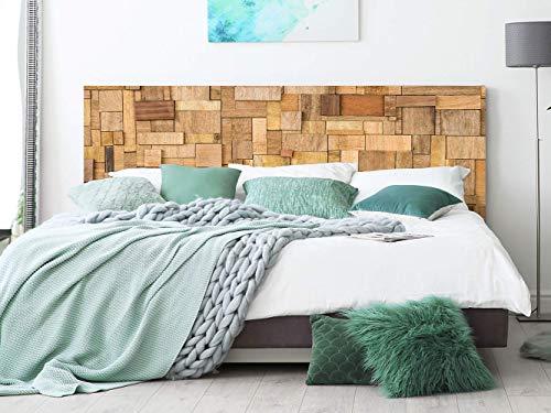 Cabecero Cama PVC Rectángulos de Madera 150x60cm | Disponible en Varias Medidas | Cabecero Ligero, Elegante, Resistente y Económico