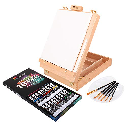 Zenacolor Acrylic Paint Set with Wood Case, 18 Tubes of Acrylic Paints, 6 Paint Brushes - Blank Canvas 24x30cm, Palette, and Palette Knife - Art Supplies for Artists and Painters