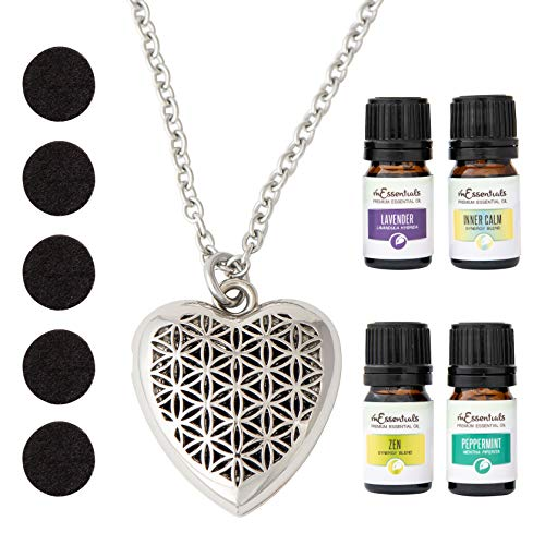 mEssentials Heart of Chrome Essential Oil Diffuser Necklace Gift Set - Aromatherapy Pendant, 24 Nickel Free Alloy Chain, 5 Refill Pads, 4-100% Pure Oils (Lavender, Peppermint, Inner Calm, Zen)