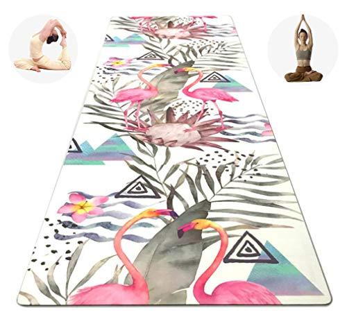 DUBAOBAO Natuurlijke rubber yoga/gymnastiek/Pilates/gamma pad. Kunstpatroon antislip antibacterieel, extra lang formaat 183,0 cm * 61,0 cm, 3,5 cm dik, gratis riem
