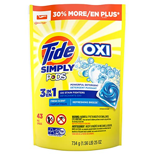 Tide Simply PODS +Oxi Liquid Laundry Detergent Pacs, Refreshing Breeze, 43 Pac Capsules,25 Ounces