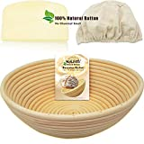 WALFOS 9' Round Banneton Proofing Basket Set - French Style Artisan Sourdough Bread Bakery...