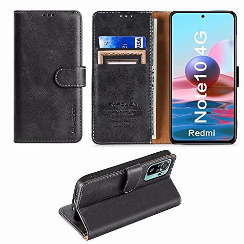FMPCUON Custodia Xiaomi Redmi Note 10 4G/Note 10S,Premium Portafoglio Magnetica Flip Case Custodie Cover a Libro Custodia in Pelle per Xiaomi Redmi Note 10 4G/Note 10S,Nero