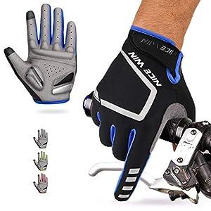 LOHOTEK Guantes de Ciclismo Motocicleta Bicicleta Montaña-Acolchados Bicicleta de Carretera de Hombres Mujeres Antideslizante Pantalla Táctil (Azul, S)