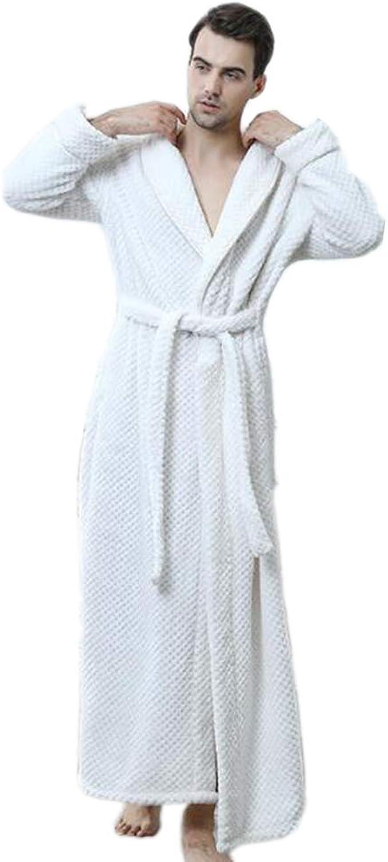 Autumn and Winter New Ladies Couple Waist Coral Fleece Long Bathrobes Flannel Pajamas Robe, White,whitemale,L