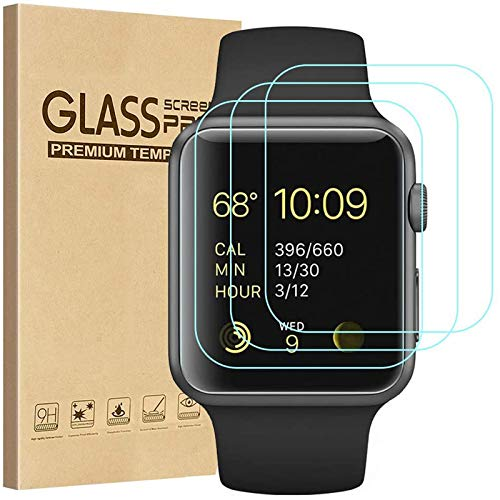 Tourist [3 Pack] Compatible for Apple Watch Tempered Glass Screen Protecto...