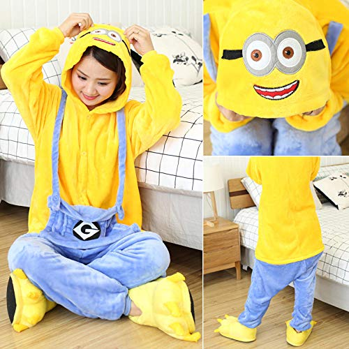 QIROG Winter Animals Sleepwear Panda Onesies Women Men Unisex Adults Flannel Nightgown Home Clothing Sets MinionS Height 148 158CM