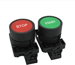 Tiass/AC 660V 10A Momentary Start/Stop Red Green Sign NO NC Push Button Switch (Warranty 1 Years) HB2-Start/Stop
