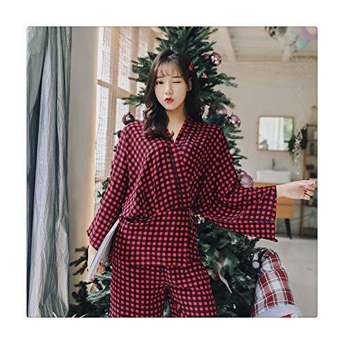 HLMJ Establece Pijama De La Mujer Elegante Completa Inicio Ropa De Dormir Ropa De Mujer Pijama Traje Grúa Correas De Impresión Kimono (Color : PH 05, Size : L.)