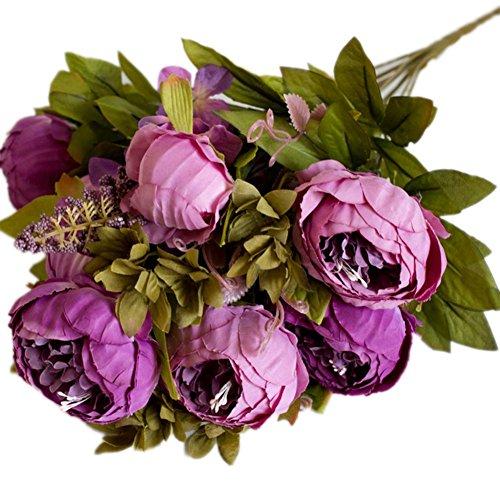 weimay Pivoine artificielle fleur en soie Feuilles Home Décoration Mariage Party/Home Décoration Faux Fleurs Rose, lilas, 47 cm