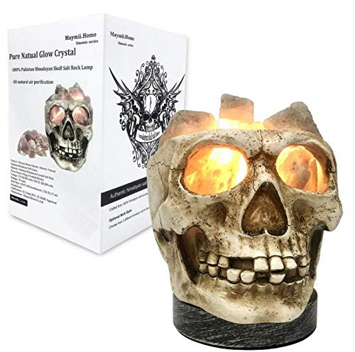 3D White Gray Grey Black Himalayan Salt Lamp Lights, Tatoo Halloween Skull Carved Statue Lamp Night Light with Himalayan Gray White Salt Chunks, Dimmer Switch Control with 1 Salt Candle Holder