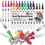 24 Stylo Aquarelle Feutre Coloriage Pinceaux Brush Pen Marqueur pour Feutres...