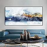 Estilo chino acuarela montañas modernas decoración del hogar pintura lienzo arte de pared para sala de estar impresión póster imagen obras de arte 35x70 CM (sin marco)