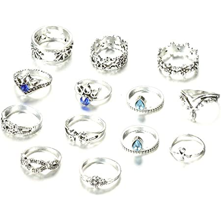 Anello Dell'articolazione 13pcs Boho Stackable Rings Set Vintage Opal E Turchese Falange Anelli Nail Mid Ring per Donne Ragazze