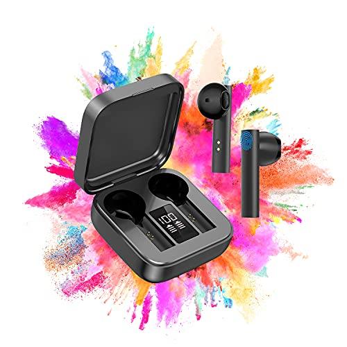 Auriculares Inalambricos, Auriculares Bluetooth 5.0 HiFi Estéreo, Micrófono Incorporado, Control Táctil Auriculares Bluetooth, Auricular para Todos Los Teléfonos Inteligentes