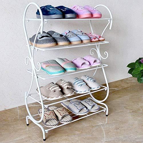 YLCJ Creative schoenenrek in meerlagig strijkijzer, eenvoudige woonkamer, badkamervloer, klein schoenenrek, stevig en ruimtebesparend schoenenrek (kleur: wit, afmetingen: 5 liter)