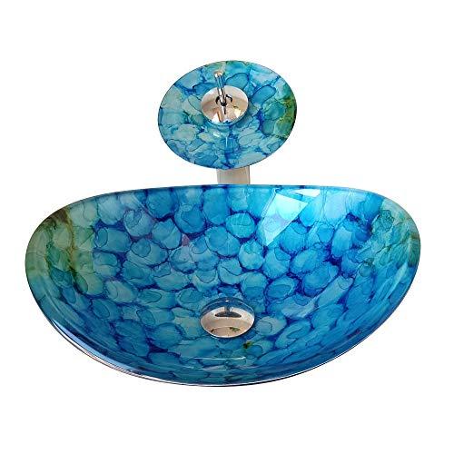 Homelava Modern Gehärtetes Glas Waschbecken mit Wasserfall Armatur Set (Blau 7)