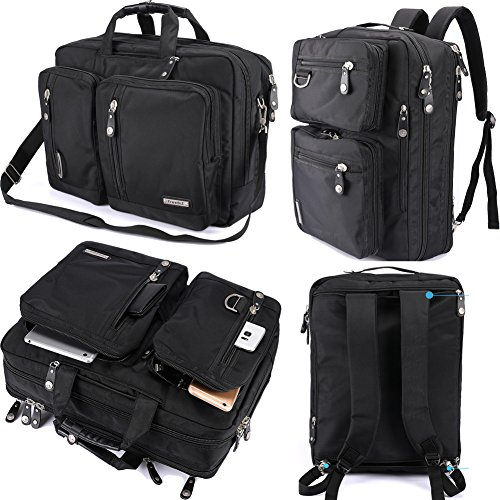 FreeBiz Laptop Bag Convertible Backpack Business Briefcase Messenger Bag for 17.3 Inch Laptop Computer Notebook Chromebook for Men Women Students( Black)
