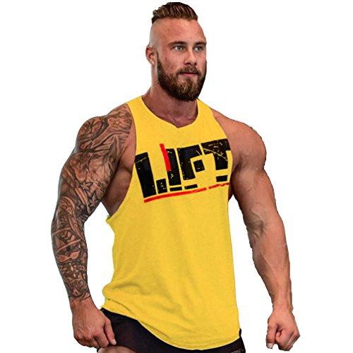 Befox Herren Fitness Muskel Gym saugfähige Weste Bodybuilding Lift Stringer Tank Top,M-XXL