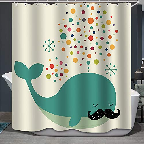 Mustached Whale Shower Curtain