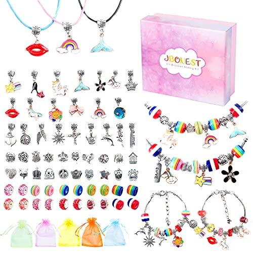 JBonest Mädchen Geschenke 6-12 Jahre - Charm Armband Making Kit DIY, Geschenke für Mädchen Schmuck Bastelset Spielzeug Kinder, Silberkette Geschenke Weihnachten Geschenk Mädchen 5 6 7 8 9 10 11 Jahre