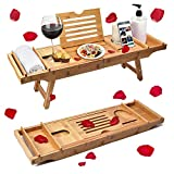 Rraycom Bathtub Caddy & Laptop Bed Desk – The Original Patented 2 in 1 Innovative Design Transforms Our 100% Extra Large Bamboo Bathtub Tray to Bed Tray – One or Two Person Bath