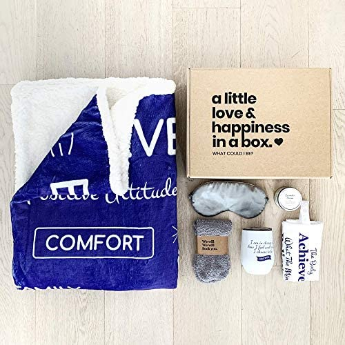 5 Piece Care Package Box Warm Relaxing Sympathy Blanket Socks Tumbler Mask Candle Perfect Get product image