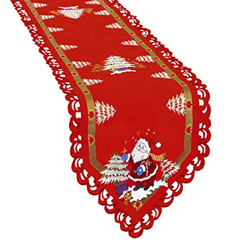 Simhomsen Santa Clause Table Runner for Christmas Holidays, Embroidered Holly Tree Surrounded (14 × 69 Inch)