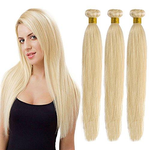 Extension Tessitura Capelli Veri Matassa Biondi Grado 7A - 100% Brazilian Virgin Human Hair Naturali Umani Lisci Brasiliani Cucitura Doppia, 613# Biondo Chiarissimo 35cm 100g