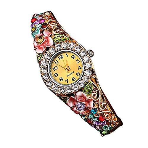 Armbanduhr Damen Uhren Schmuck Quarzuhr Analog Edelstahlarmband Muttertagsgeschenk Geburtstagsgeschenk Mode Frauen Mädchen Mädchen Damen Quarz Luxus Kristall Blumen Armband Uhr