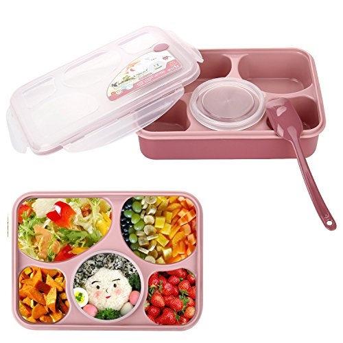 Bestland Bento Box Mikrowelle und Spülmaschinenfest Lunch Box mit mit 5 + 1 Getrennt Containers (Rosa)