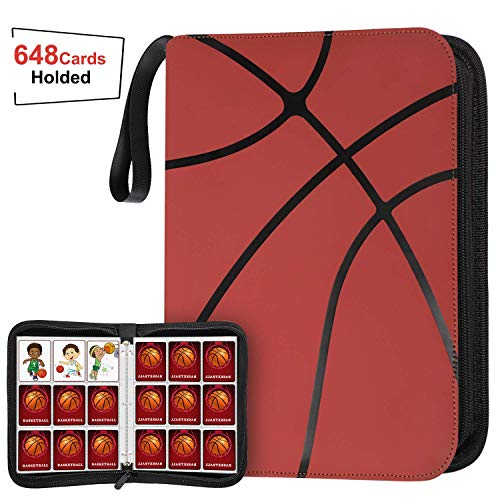 648 Pockets Basketball Card Binder Sleeves for Basketball Trading Cards, Carring Case with Basketball Card Sleeves Album Card Holder Protectors for Football Baseball Sports Card