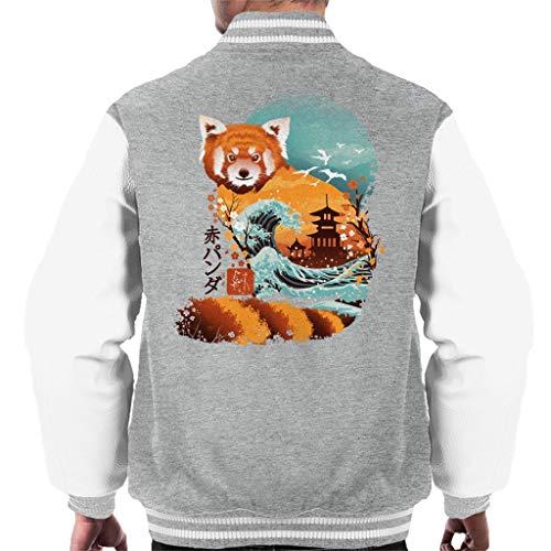 Cloud City 7 Ukiyo E Red Panda Varsity - Chaqueta para Hombre Gris y Blanco. S