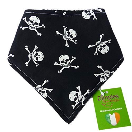 Dimples Hundehalstuch - Piraten Totenkopf schwarz - Halstuch für kleine mittlere und Grosse Hunde Welpen und Katzen - Hunde Besitzer Geschenk - Handgemachtes Hunde Accessoire 30cm