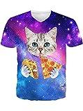 Leapparel Las Mujeres Cortan El Gato Comen La Pizza Imprimieron La Camiseta GráFica Del Cuello De V T Shirts
