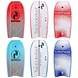 Two Bare Feet 44' Bodyboard with Leash - Adult's Boogie Board IXPE + EVA Core + Slick Bottom (Halftone Blue)